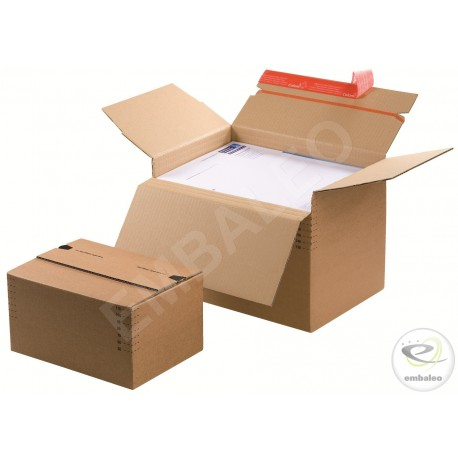 Adjustable cardboard box 22,9 x 16,4 cm with adhesive strip