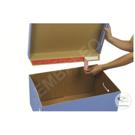 Two-piece grey storage box for archive boxes 43 x 33,5 x 27 cm