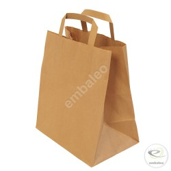 Brown kraft paper bag 20 x 10 x 28 cm with flat handles