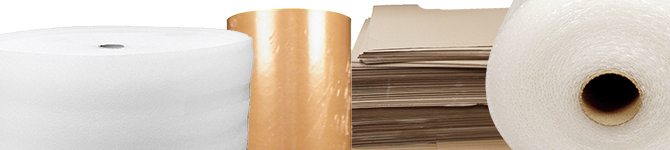 bubble wrap, foam wrap, kraft paper and box dividers